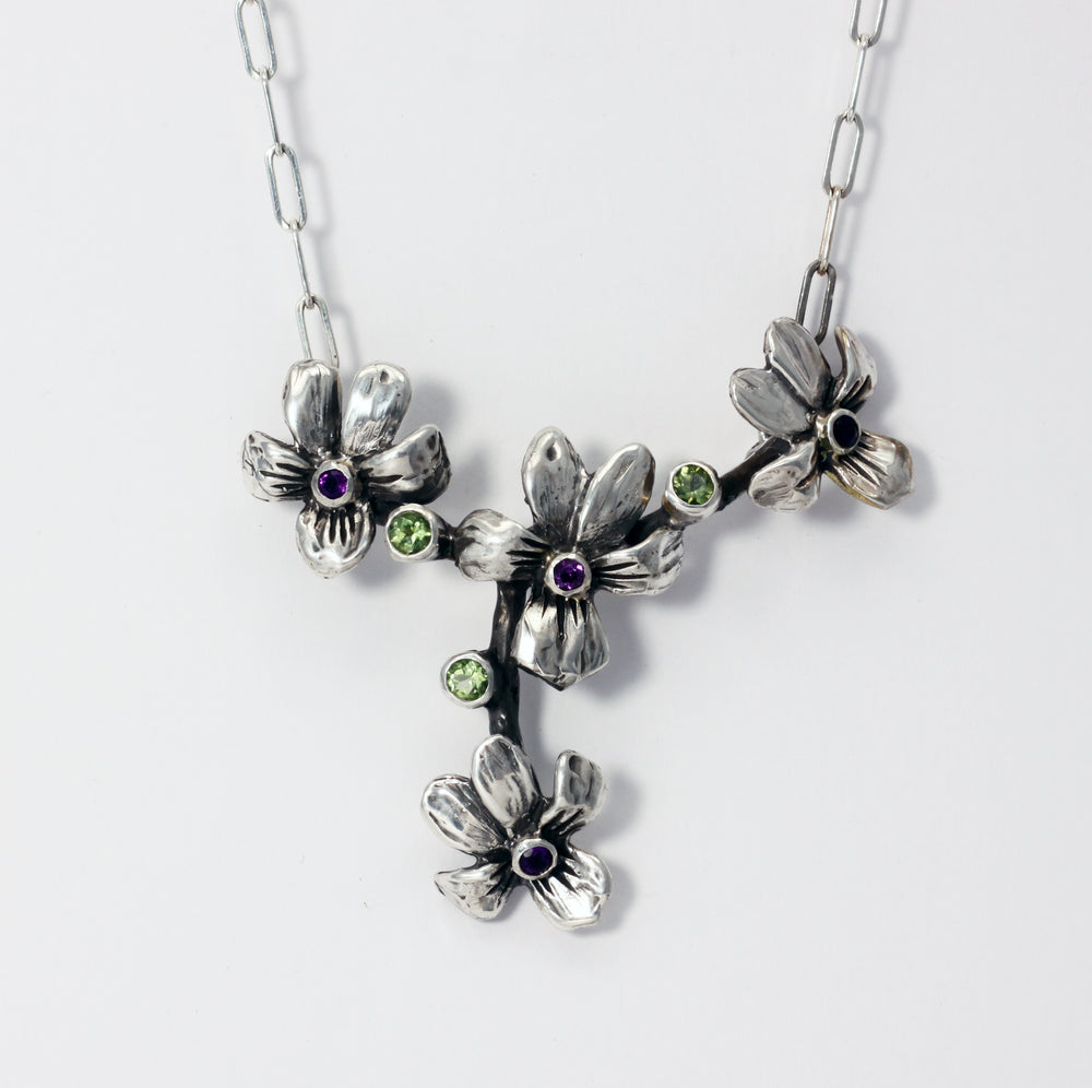 Wood Violets with faceted peridot and amethyst - sterling silver