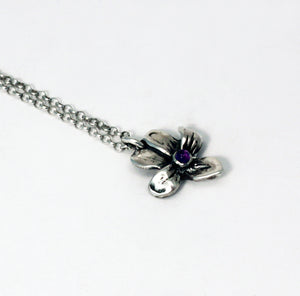 Load image into Gallery viewer, Wild wood violet pendant with amethyst cabochon