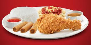 1 pc chickenjoy with half jolly spaghetti & shanghai super meal