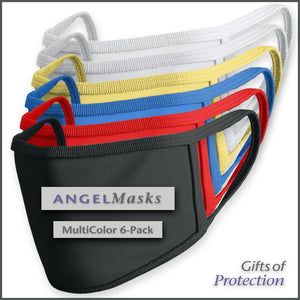 Double Layer Machine Washable Face Mask - Multi-Color 6-Pack