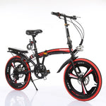 Folding Bike 20-Inch Speed Change Disc Brake Grid Three-Knife Adult Portable Small Bicycle For Male And Female Ultra-Light