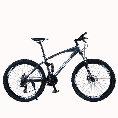 "SHANP Mountain Bike Steel Frame Full Suspension Frame Mechanical Disc Brake 24 Speed Shimano 26"" Alloy Wheels"