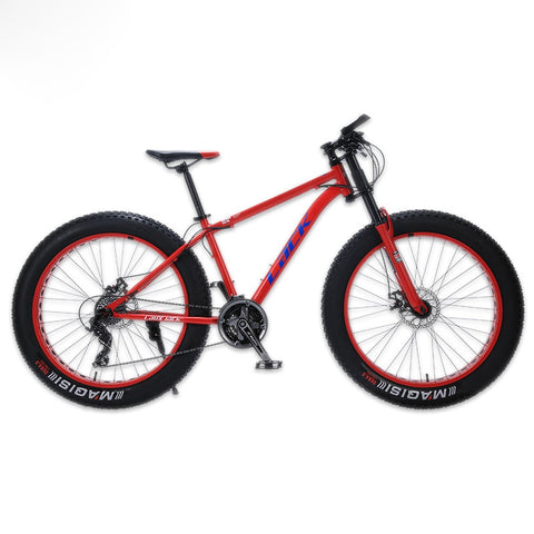 "LACK Mountain Bike FatBike Steel Frame 24 Speed Shimano Disc Brakes 26""x4.0 Wheels Long Fork"