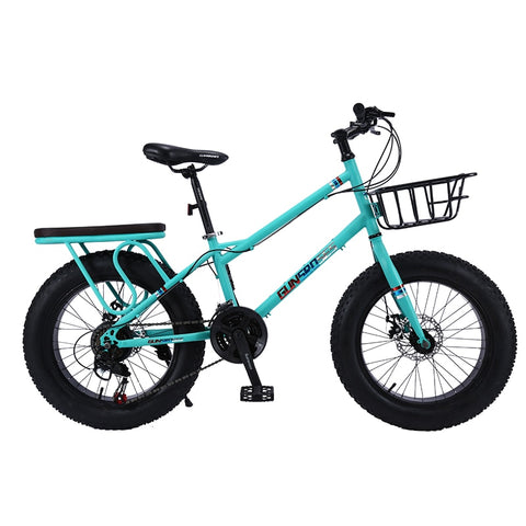 "KUBEEN Snow Bike MTB 20"" 7 21 24 27 speed double disc mountain Fat Bicycle Suspension Steel Frame 4"" Tire aluminum wheel 20kgs"