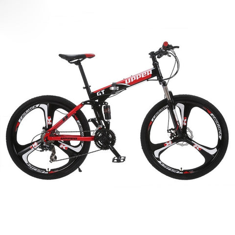 "GT-UPPER Mountain Bike Foldable Steel Frame Mechanical Disc Brake 24 Speed Shimano 26"" Alloy Wheel 3 Spokes"