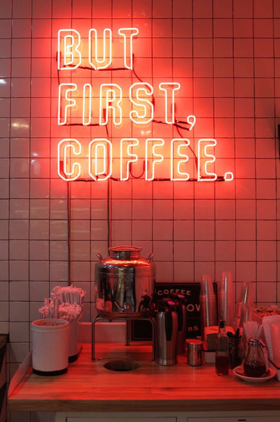 neon sign for coffee shop but first coffee