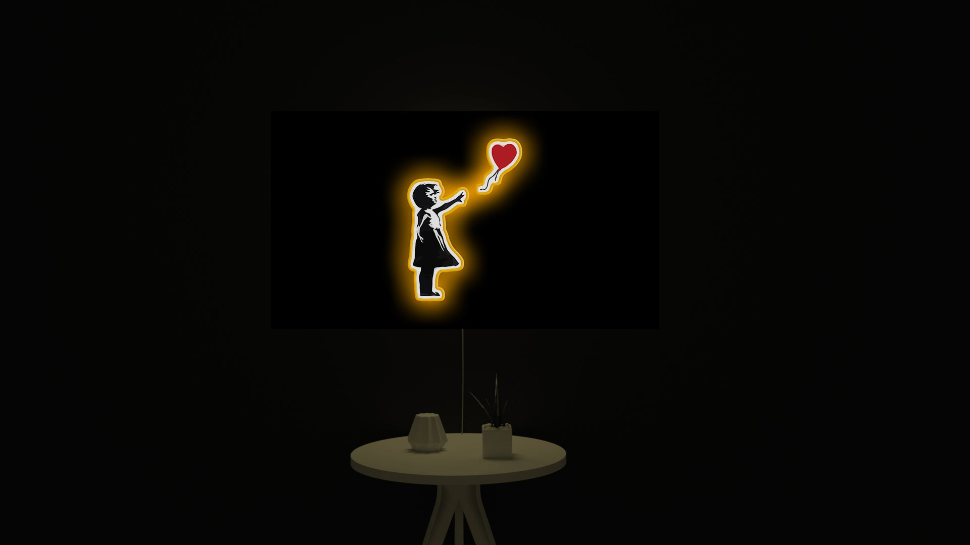 Banksy - Girl with Balloon led light sign