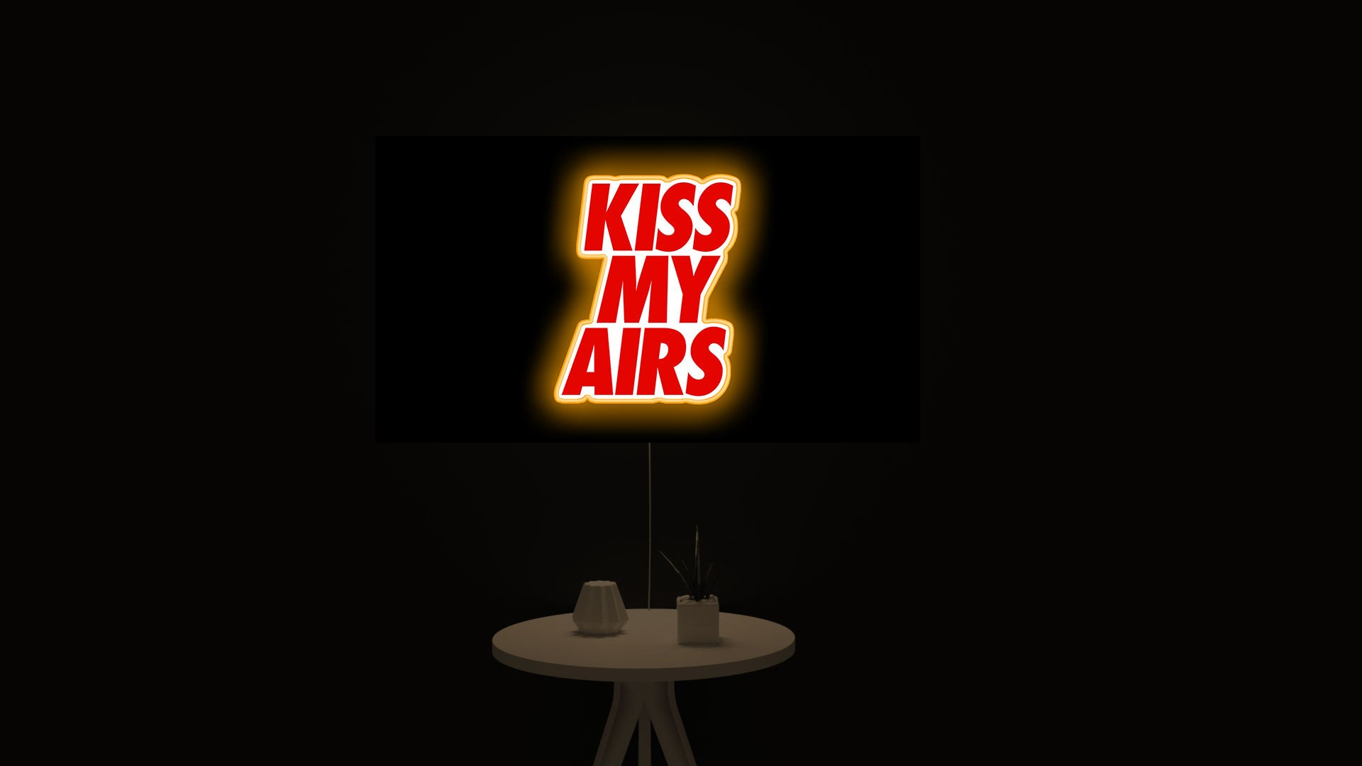 """Kiss My Airs """"BRED"""" led light sign"""