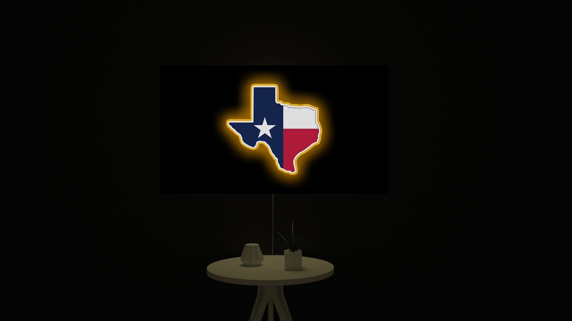 Texas State Outline with Flag led light sign