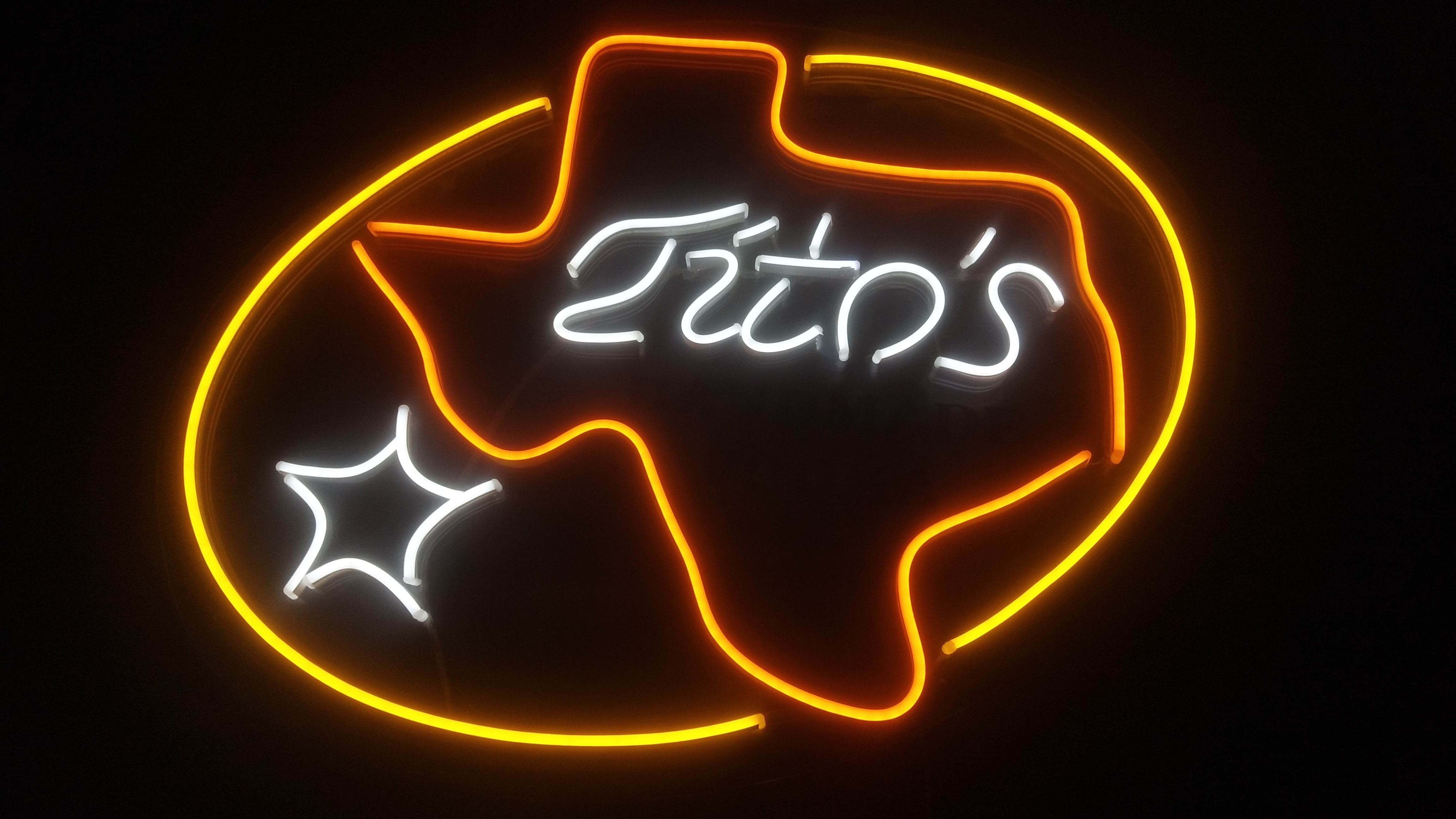 Tito's sign made with neon led