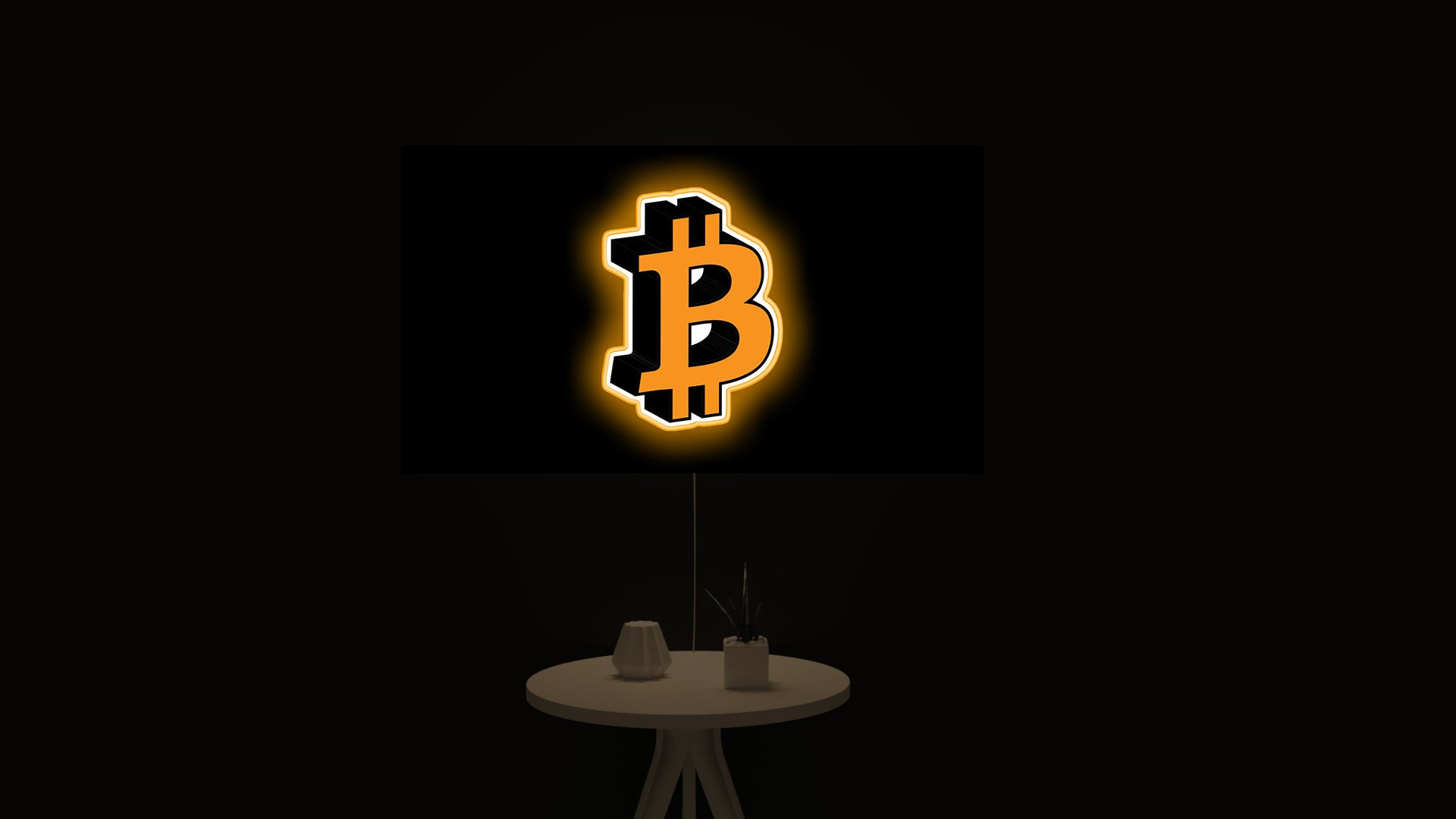 Bitcoin cryptocurrency logo icon gift led light sign
