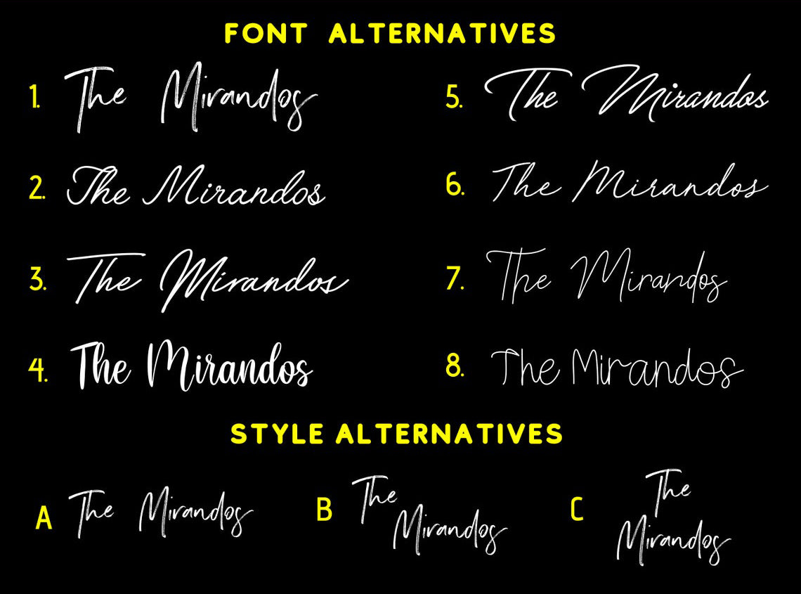 neon sign font and style personalized