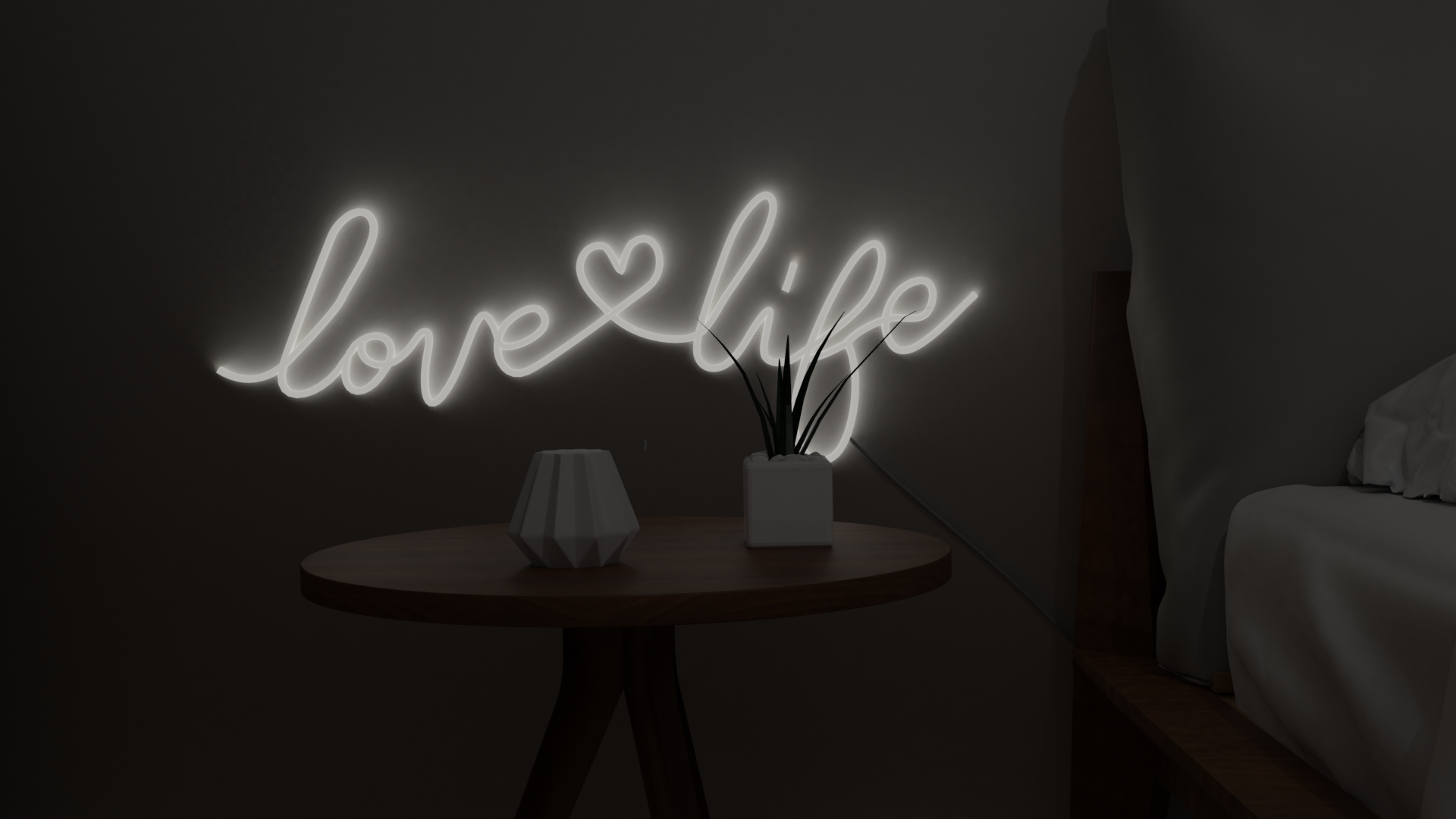 love life neon sign led bedroom