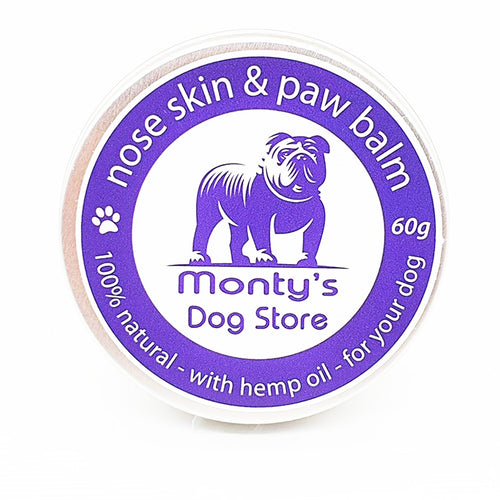 | natural paw balm | dog balm | natural dog balm | dog nose balm | natural nose skin and paw balm | best dog paw balms | soothe paws | cracked paws | soothe and heal cracked paws | paw balm natural | safe to lick paw balm | soothe dogs dry nose | moisturise dogs cracked nose | montys dog store | monty's dog store UK | |