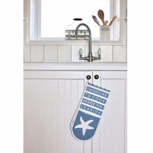 "Load image into Gallery viewer, ""Oh I do like to cook beside the seaside"" Oven Gloves"
