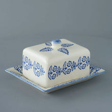 Load image into Gallery viewer, Blue Lacey Butter Dish With Lid