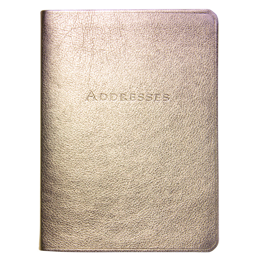 Large White Gold Metallic Leather Address Book