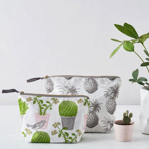 Small Cactus & Bird Cosmetic Bag