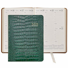 Load image into Gallery viewer, 2021 Desk Diary Emerald Green Crocodile Embossed Leather