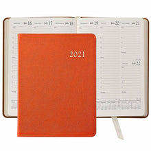 Load image into Gallery viewer, 2021 Desk Diary Orange Goatskin Leather