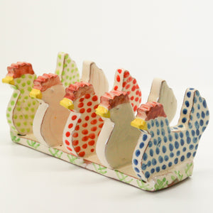 Blue, Red and Green Chicken Shaped Toast Rack