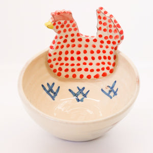 Small Red Chicken Ceramic Bowl