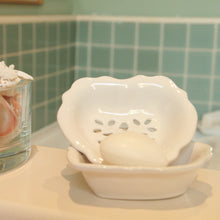 Load image into Gallery viewer, Heart shaped ceramic white soap dish