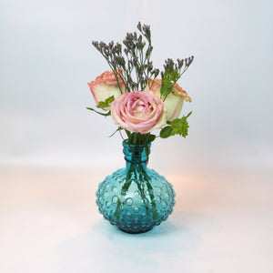 Small Bubble Glass Vase - Turquoise