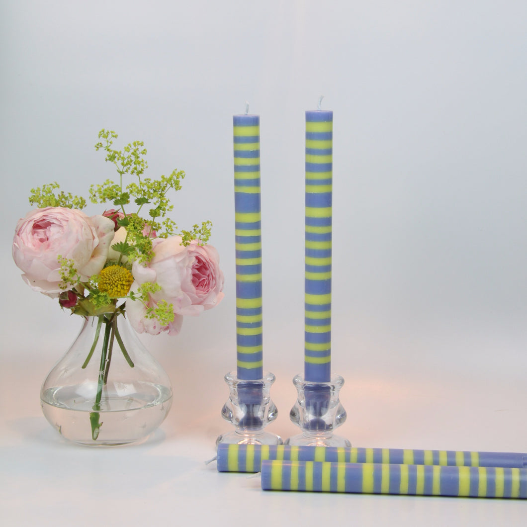 Saxe Blue & Primrose Yellow Eco Dinner Candles, 4 Per Pack