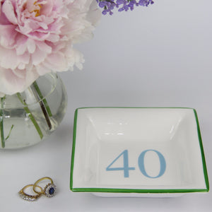 English Fine Bone China Dish - Green & Aqua 40