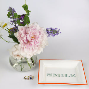 English Fine Bone China Dish - Smile (Orange)