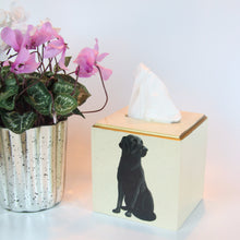 Load image into Gallery viewer, Lacquered Tissue Box Cover - Black Labrador