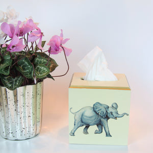 Lacquered Tissue Box Cover - Elephant