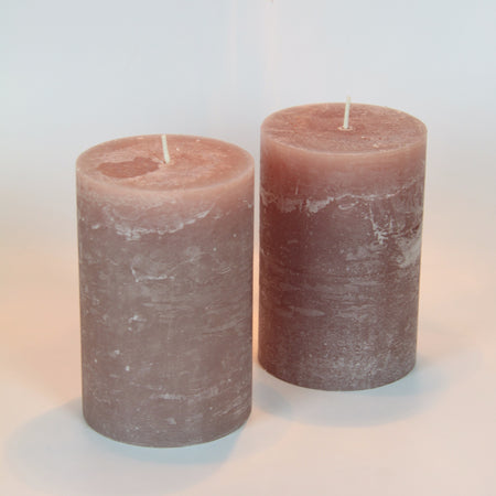 Rustic Pillar Candle - Dusty Pink