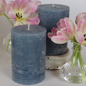 Rustic Pillar Candle - Spring Blue
