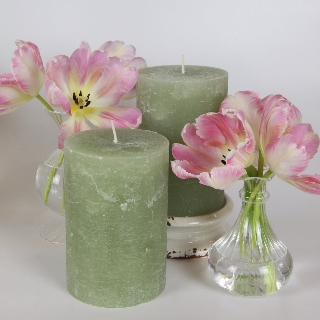 Rustic Pillar Candle - Apple Blossom