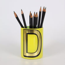 Load image into Gallery viewer, Alphabet Brush Pot - D (Yellow)