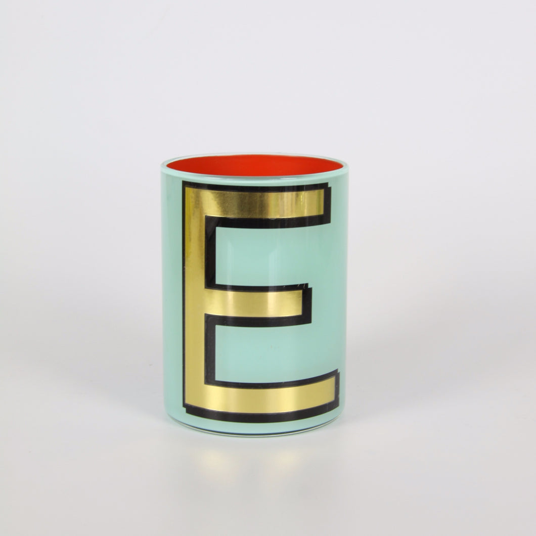 Alphabet Brush Pot - E (Aqua)