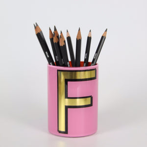Alphabet Brush Pot - F (Pink)