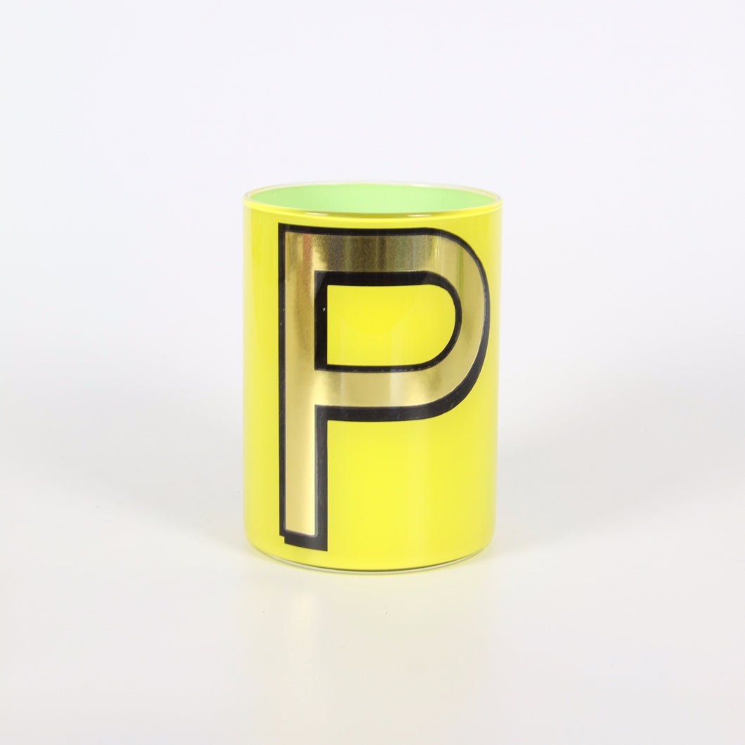 Alphabet Brush Pot - P (Yellow)