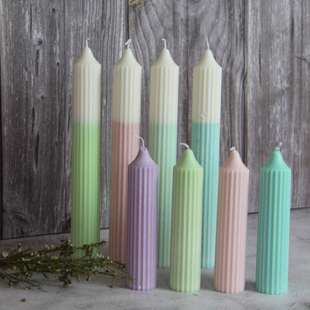 Dip Dye Pillar Candle - Green