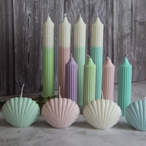 Short Ridged Pillar Candle - Lilac