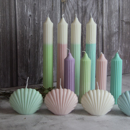 Short Ridged Pillar Candle - Green