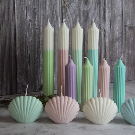 Short Ridged Pillar Candle - Turquoise