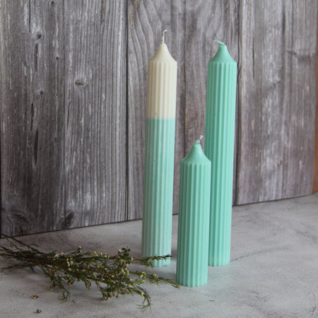 Tall Ridged Pillar Candle - Turquoise