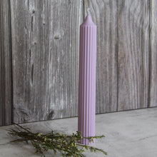 Load image into Gallery viewer, Tall Ridged Pillar Candle - Lilac