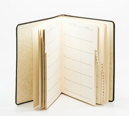 Large Navy Leather Address Book
