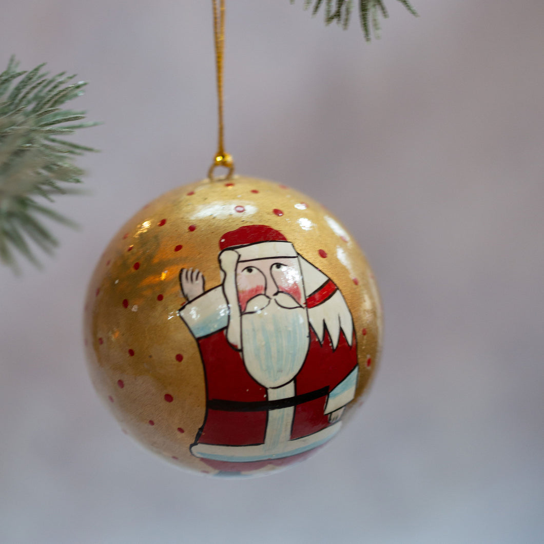 Gold Father Christmas Hand-painted Bauble