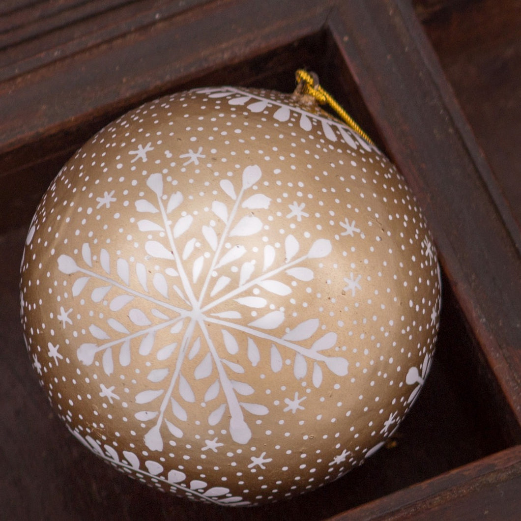 White and Gold Snowflake Hand-painted Bauble