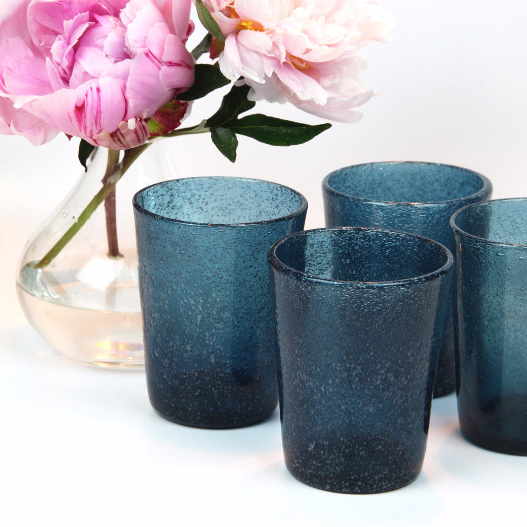 Navy Glass Blown Tumblers, Set of Four